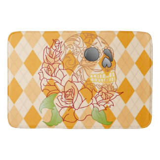 Bathmat retro yellow argyle skull