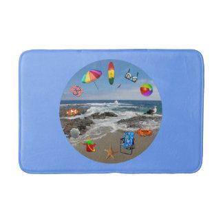 Bathmat with beach, ocean surrounded by beach item