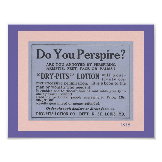 Bathroom Accessories: Fun Vintage Deodorant Ad Poster