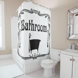 Bathroom bath tub black white Shower curtain