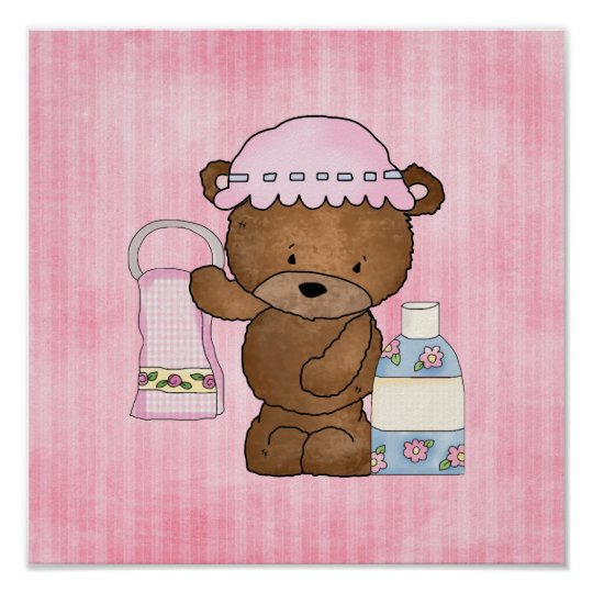 Bathroom Bear cartoon wall poster