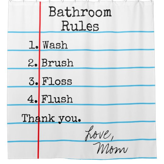 Bathroom Rules Notebook Paper Shower Curtain