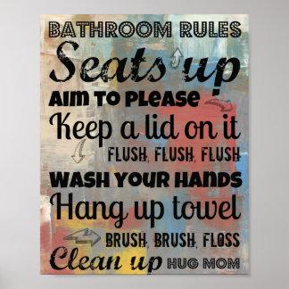 Bathroom Rules Poster -- Hug Mom 8x10
