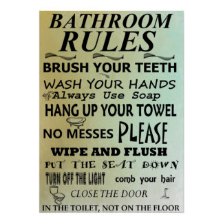 Bathroom Rules Subway Art Poster