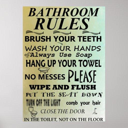 Bathroom Rules Subway Art Poster