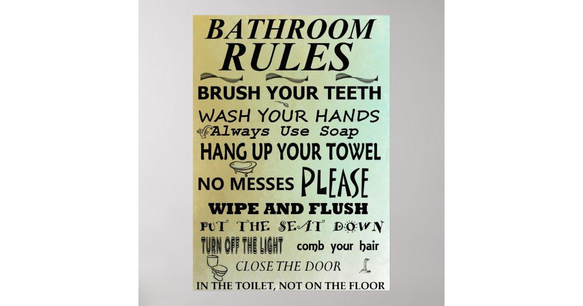 bathroom rules subway art poster zazzle