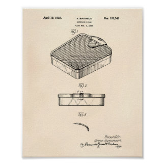 Bathroom Scale 1938 Patent Art Old Peper Poster