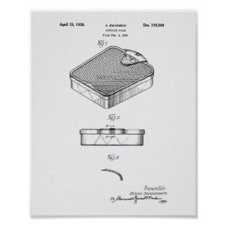 Bathroom Scale 1938 Patent Art White Paper Poster