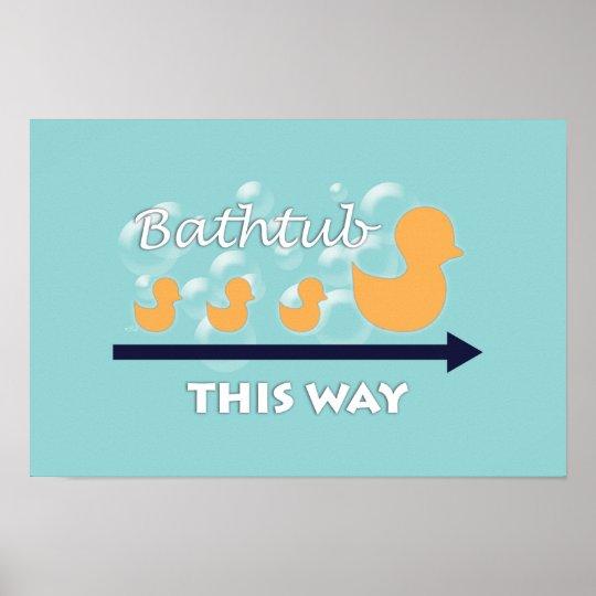 "Bathroom Wall Art ""Ducks in a row"" Poster"