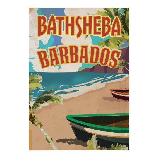 Bathsheba Barbados vintage vacation travel poster