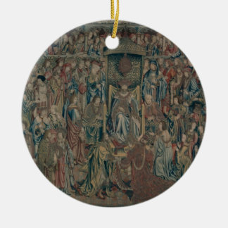 Bathsheba Welcomed at Court, Tapestry of David and Round Ceramic Decoration