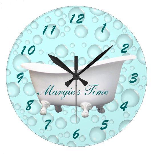 Bathtub & Bubbles Clock- customise & personalise Large