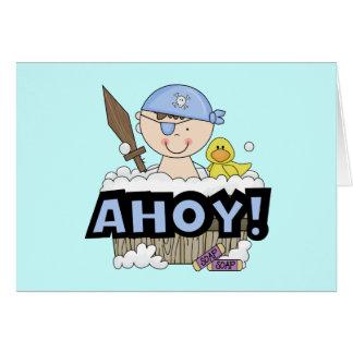 Bathtub Pirates - Brunette Boy Tshirts and Gifts Card