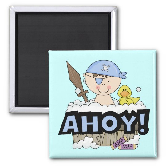 Bathtub Pirates - Brunette Boy Tshirts and Gifts Square Magnet