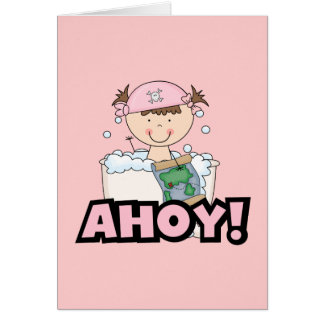 Bathtub Pirates - Brunette Girl Tshirts and Gifts Greeting Cards