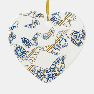 batik and butterfly no.4 ceramic heart decoration
