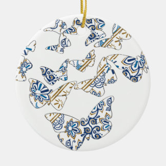 batik and butterfly no.4 round ceramic decoration