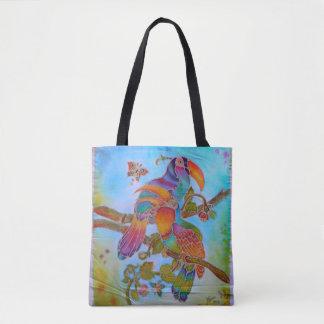 Batik Birds  - 2 in 1 colour style front/back Tote Bag