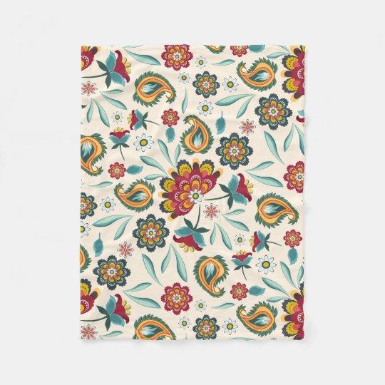 Batik Floral Boho Indonesian Style Fleece Blanket