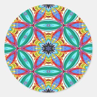 Batik flower mandala shape round sticker