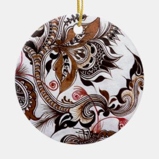 batik graphic art no4 round ceramic decoration