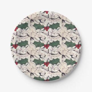Batik holly paper plates
