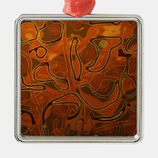 Batik II Silver-Colored Square Decoration