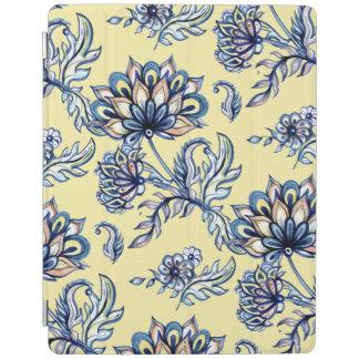Batik Indigo Floral Pattern on yellow background iPad Cover