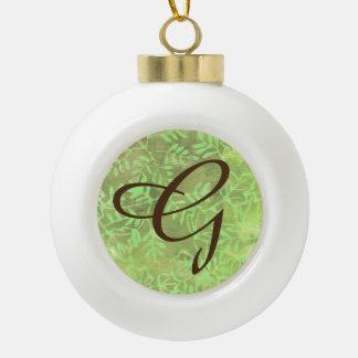 Batik Leaves Green Rustic Christmas Ball Letter G Ceramic Ball Christmas Ornament