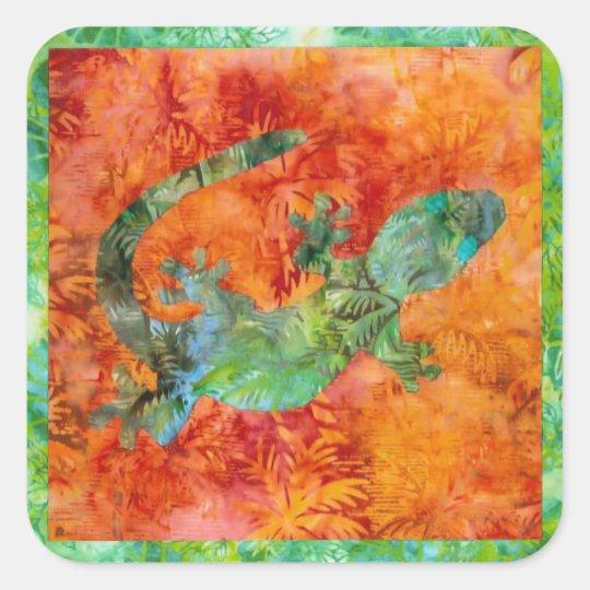Batik Lizard Square Sticker