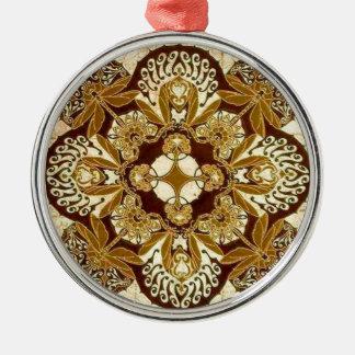 Batik Mandala in Brown and Tan Silver-Colored Round Decoration