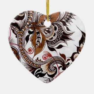 batik no.4 colection ceramic heart decoration