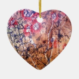 Batik - Red Lichen Ceramic Heart Decoration