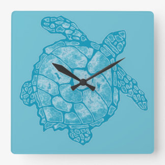 Batik Sea Turtle Square Wall Clock