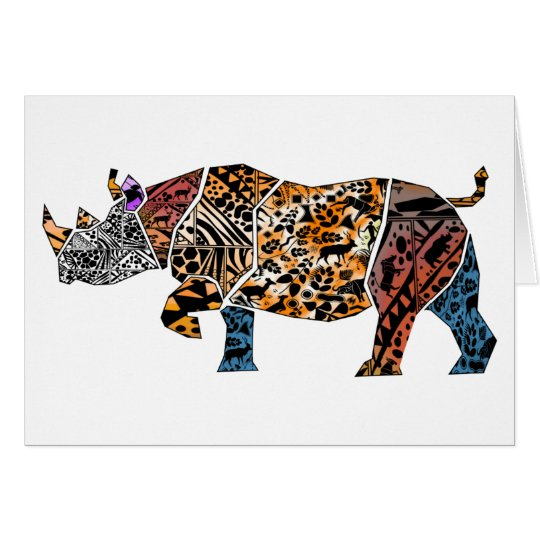 Batik style Black Rhino Birthday Card