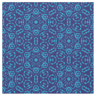Batik Style Blue Abstract Floral Fabric