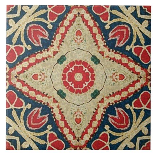 Batik-style Tiles, floral pattern, red, blue beige Tile
