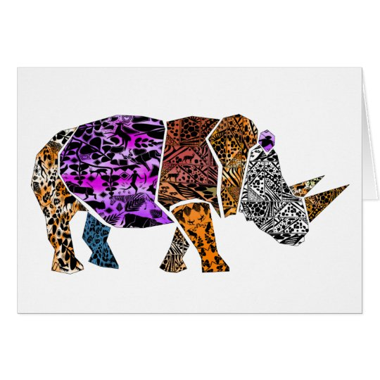 Batik style White Rhino Birthday Card