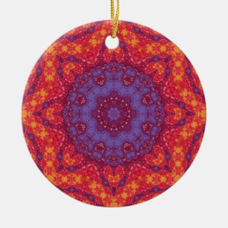 Batik Sunset Watercolor Mandala Round Ceramic Decoration