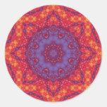 Batik Sunset Watercolor Mandala Classic Round Sticker