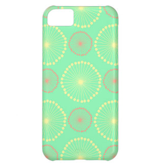 Batik tribal girly floral chic green dots pattern iPhone 5C case