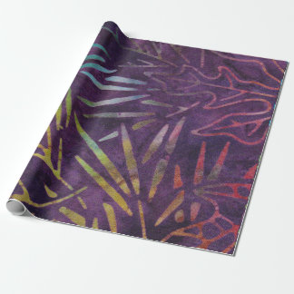 Batik Tropical Leafs Mint Purple Pink Candy Wrapping Paper