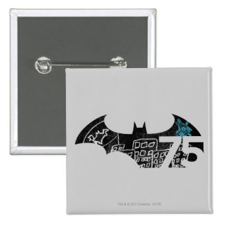 Batman 75 Logo - Chalkboard 15 Cm Square Badge