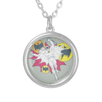 Batman And Bat Symbol Graphic Silver Plated Necklace