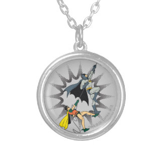 Batman And Robin Climb Silver Plated Necklace