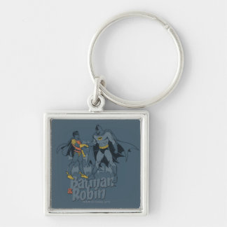 Batman And Robin Distressed Graphic Silver-Colored Square Key Ring
