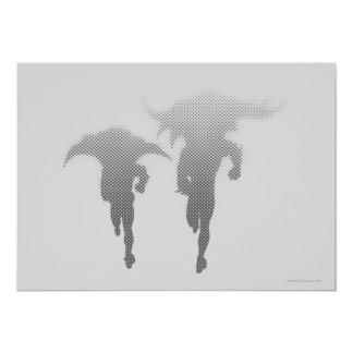 Batman And Robin Halftone Gradient 13 Cm X 18 Cm Invitation Card