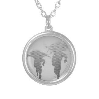 Batman And Robin Halftone Gradient Silver Plated Necklace