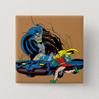 Batman And Robin In Batcave 15 Cm Square Badge