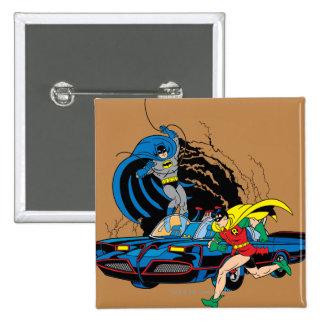 Batman And Robin In Batcave 15 Cm Square Badge